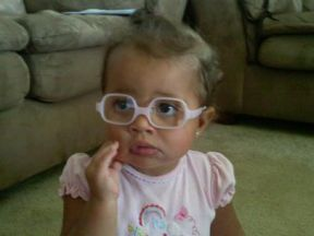 Alyvia, 14 months.  She wears glasses for nearsightedness and has astigmatism and crossed eyed a little. Her glasses are Solo Bambini.