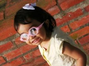 Anna Camila, 1 year 4 months - she has worn glasses since 1 year due to ametropia.  Glasses are  from Miraflex.