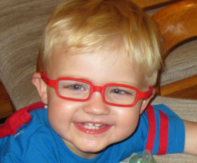 20 month old boy wearing glasses