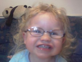 Becca, 2 years old, on her first day wearing glasses.