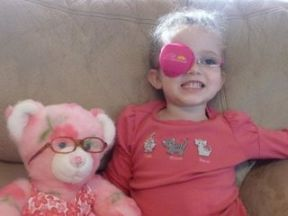 "Belle, 4 years old - wears glasses and a patch for amblyopia.  She is in Disney Princess Snow White 2 frames and a coordinating ""Princess"" patch from Patch Pals. Her bear & glasses are from BuildABear. Best thing I did to get her excited about her glasses!!!!"