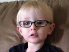 Brendan, 2 1/2 yrs. Has worn and loved his glasses since 14 months for extreme farsightedness and accomodative esotropia.