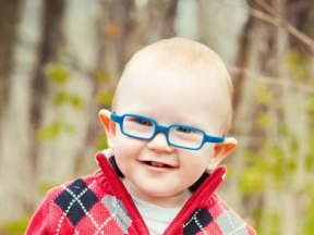 Caleb, 14 months.  He wears glasses for farsightedness.