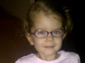 picture of a 3 year old girl in glasses