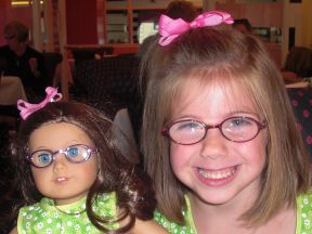 Emerson - age 5, got her glasses at 4-3/4.  She wears glasses for farsightedness and astigmatism.  (She is sister to Finley, whose picture above)