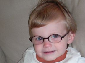 Finley,16 mos.  He got his glasses at 13 mos for farsightedness.  He is brother to Emerson, pictured below.