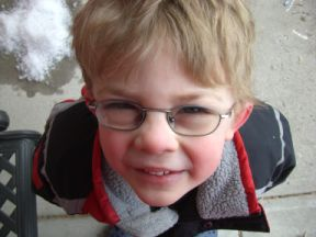 Franklin - 4 years old. Found out he needed glasses at his 3 year old screening. Glasses from Costco.