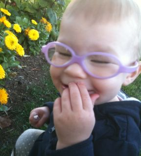 14 month old girl in glasses