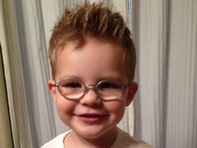 Grady, 2 1/2 years old.  He wears glasses for esotropia.  His frames are Fisher-Price.