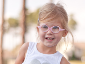 Isabella, 3 years old.  She had surgery for bilateral cataracts at 3 months and has worn Miraflex glasses ever since.