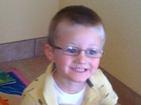 JJ, 3 years old.  He wears glasses for farsightedness.