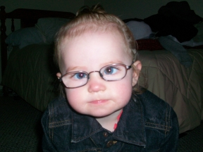 Karly, 16 months.  She wears glasses for strabismus.