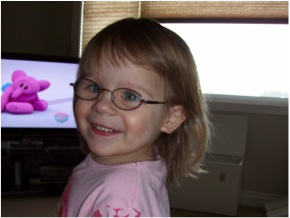 Kaylee, 2 years old - on her first day with glasses!  She wears glasses for amblyopia, strabismus, and farsightedness, and will be patching 4 hrs / day.  Glasses are Disney princess.