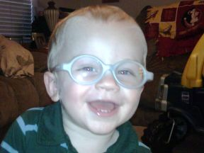 toddler boy in glasses