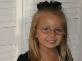 Madysen, 4 years old - wears glasses for farsightedness and accommodative esotropia.