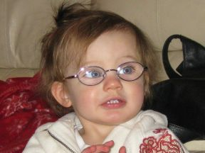 Makenna, 16 months. She wears glasses for farsightedness (+9 in each eye).
