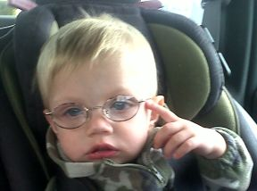 photo of an 18 month boy wearing glasses
