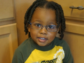 Tyler, 33 months.  He wears glasses for myopia and astigmatism.