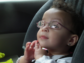 Victoria, 11 months.  She wears glasses for farsightedness.