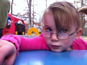 Violet, 2 years old.  She wears glasses for accommodative esotropia.  Glasses are Easy Twist.