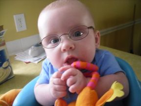 William, 14 weeks old.  William got glasses at 12 weeks for farsightedness.