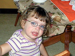 Audrey - 25 months, wears glasses for farsightedness. The specs in this photo are Fisher Price.