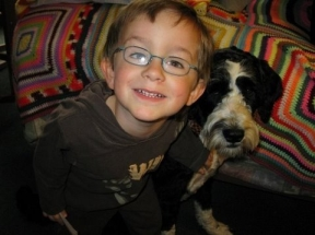 Nathan, 3 1/2 years old - he has worn glasses for farsightedness since just before turning 3 years old.