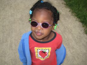 Z - 3 years old.  Z has visual impairment due to CVI and is farsighted.
