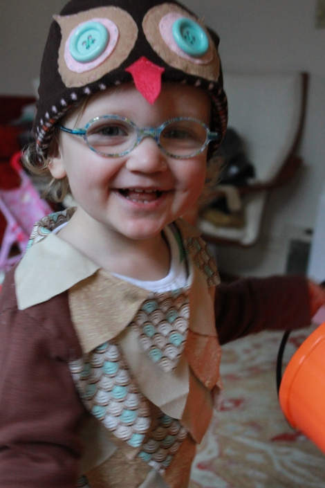 Stella's newly repaired glasses were a perfect complement to her owl costume.
