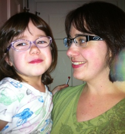 mom and daughter, both in glasses