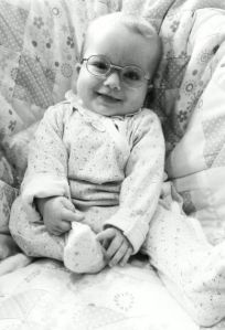 Evie's first specs at 5 months