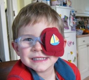George, 4 years old, has worn glasses since 4 weeks old and has had to patch right from the beginning.