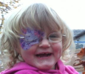 Lila 2 1/2 years old, she has been patching since March 2012 doing amazing with the patch, thankfully.