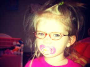 Kendall is 2 1/2. She wears glasses for Optic Nerve Hypoplasia. Her glasses are Dora from Walmart.