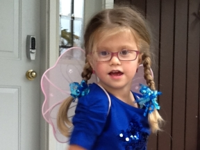 Greta, 5 years old.   She wears glasses for strabismus.