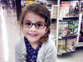 Lilly, 4 years old.  She wears glasses for cataracts.  Glasses are from WalMart.