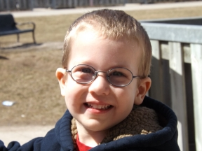 Spencer, 3 1/2 years old.  He wears glasses for strabismus.