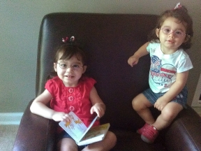 Audrey is 2 1/2 and Alyssa is 1 1/2, both girls have hyperopia, strabismus and Audrey also has amblyopia.