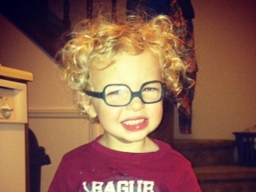 Jude, 2 years old. He wears glasses for strabismus. His glasses are Solo Bambini.