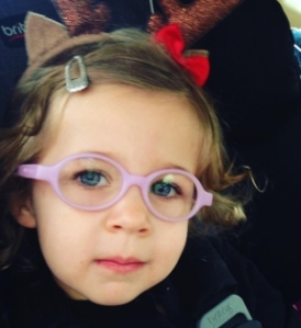 Dylan - 3 years old.  She wears glasses for accommodative esotropia.  Frames are Miraflex.