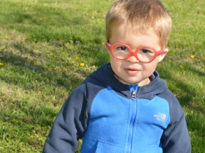 Crew - 2 years old. He got glasses at 20 months for nearsightedness with astigmatism in one eye and farsightedness in the other. His glasses are Centrostyle.